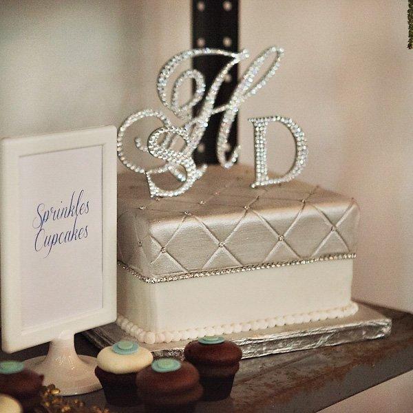 monogram rhinestone wedding cake topper