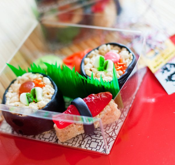 candy sushi bento box - ninja birthday party