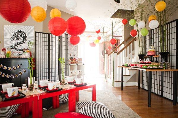 Modern ninjago style ninja birthday party hostess for Asian room decoration