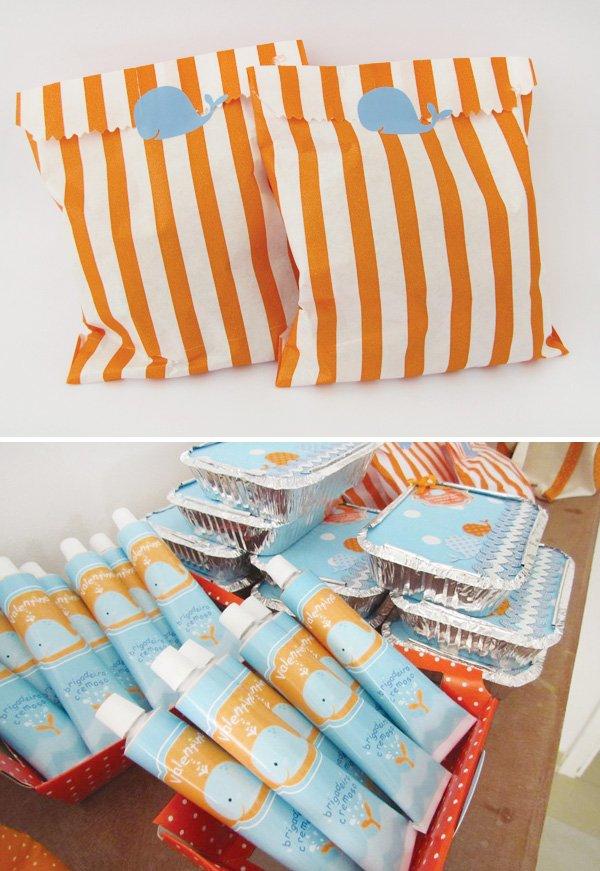 orange stripe party bags