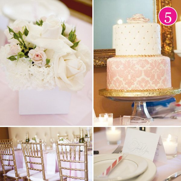pink white and gold bridal shower