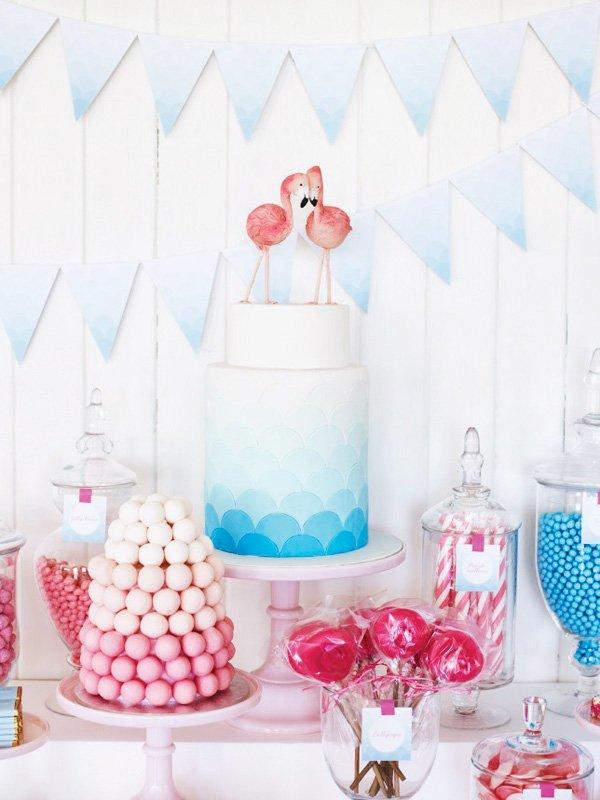 pink flamingo pool party cake