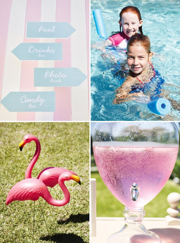 pink pool party signs