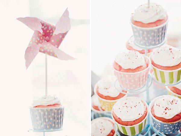 pinwheel and polka dot cupcakes