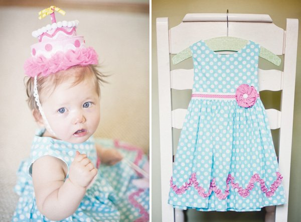 polka dot birthday dress and a pink felt cake hat