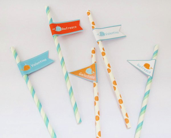 printable whale straw flags