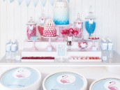 retro pink flamingo dessert table