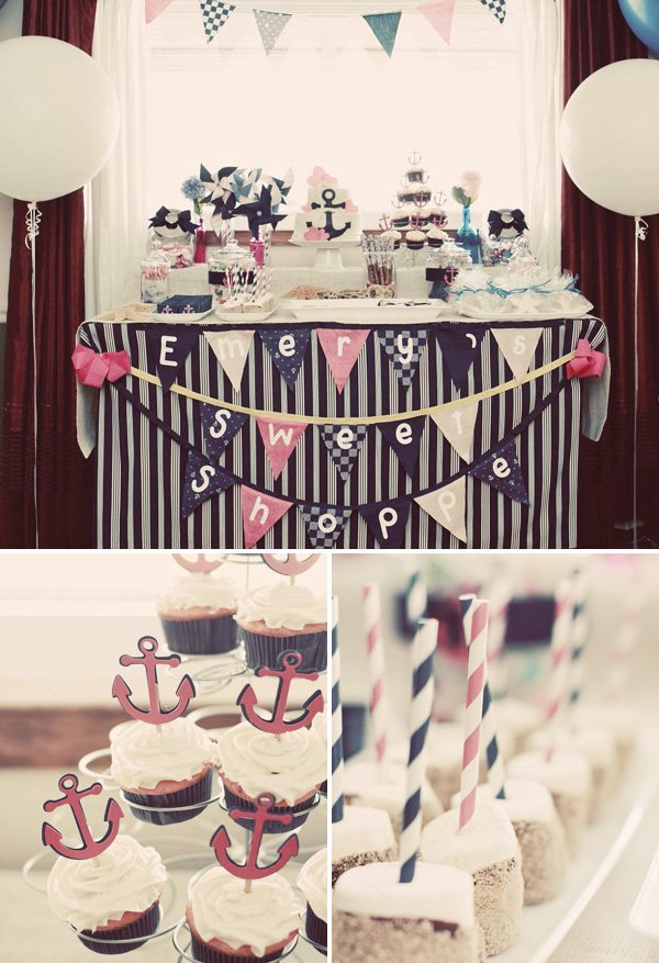 GIrly sailor birthday party desserts