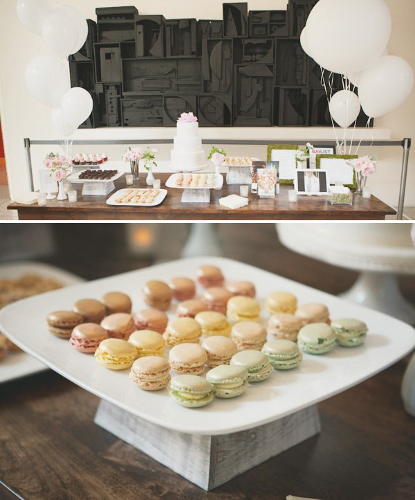 something blue bridal event catering dessert table with mini macarons
