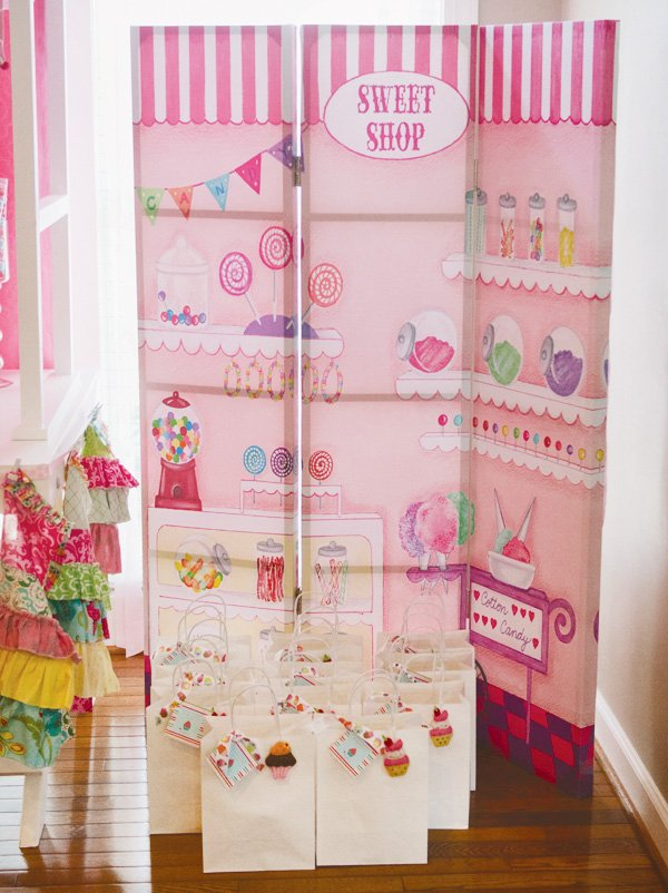 sweet shop backdrop and party favors