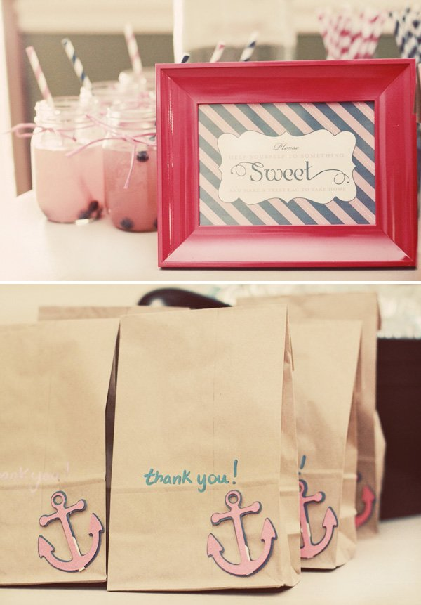 brown paper bag favors with anchors