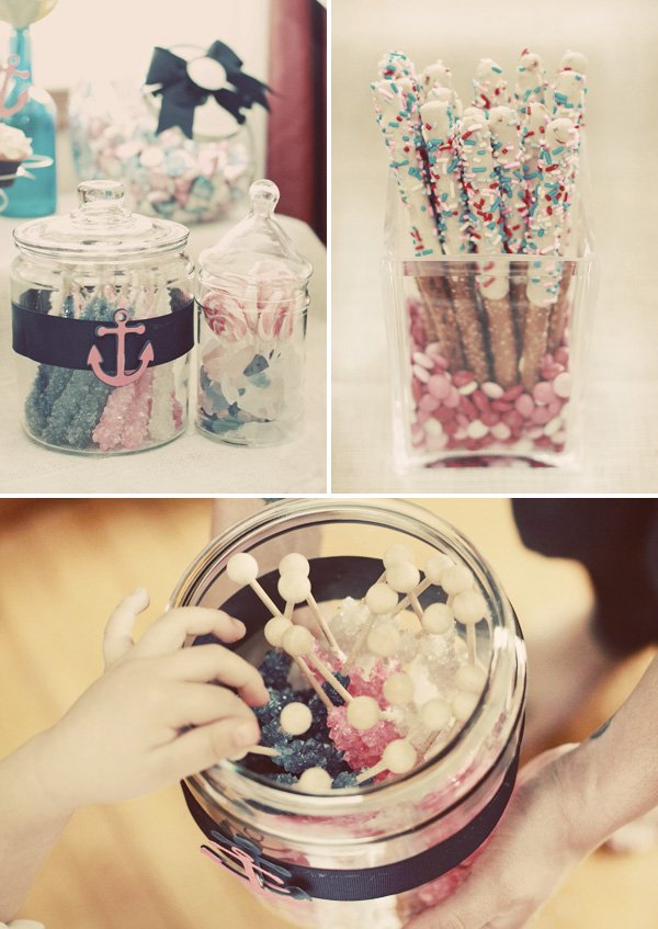 pink, white and blue candy buffet