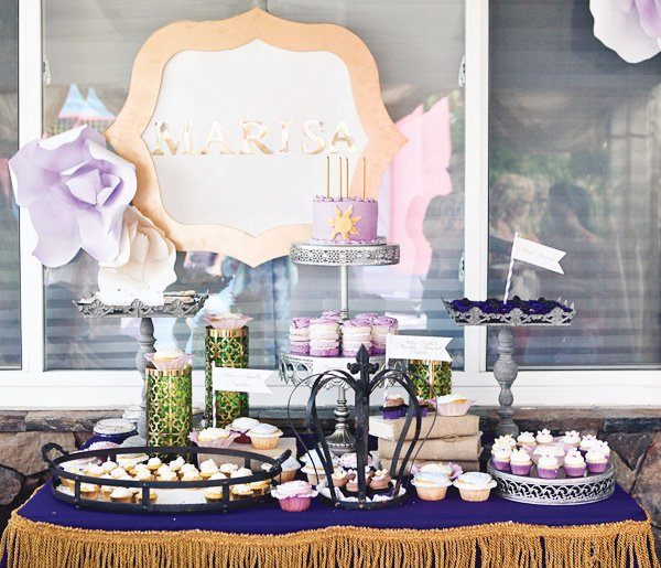 tangled inspired dessert table