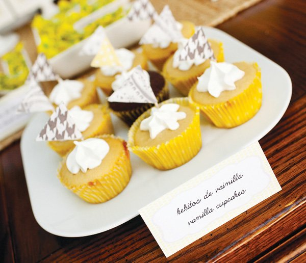 yellow and gray flag cupcake toppers