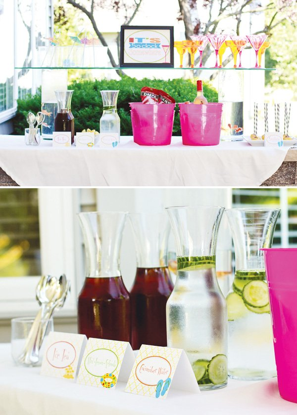 welcome summer party cocktail station