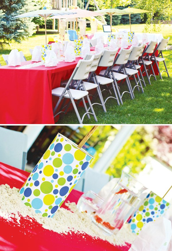welcome summer party kids table