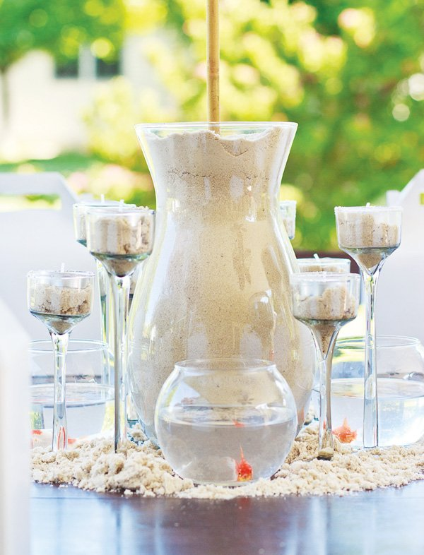 welcome summer party sand centerpiece