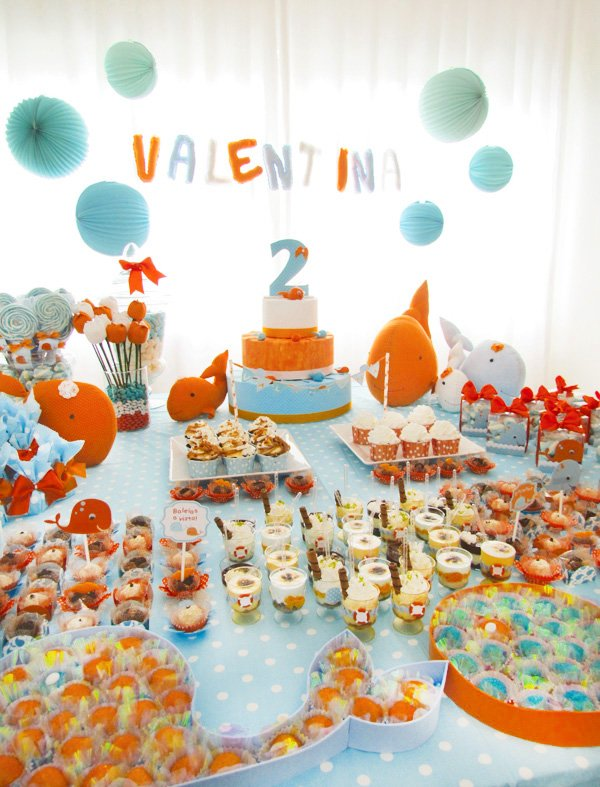 whale party dessert table