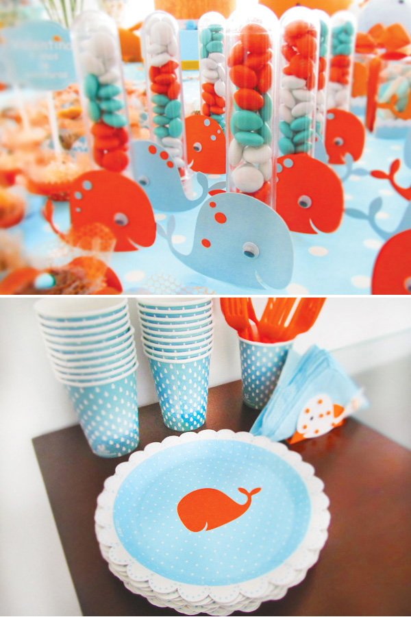 whale party plates and favors