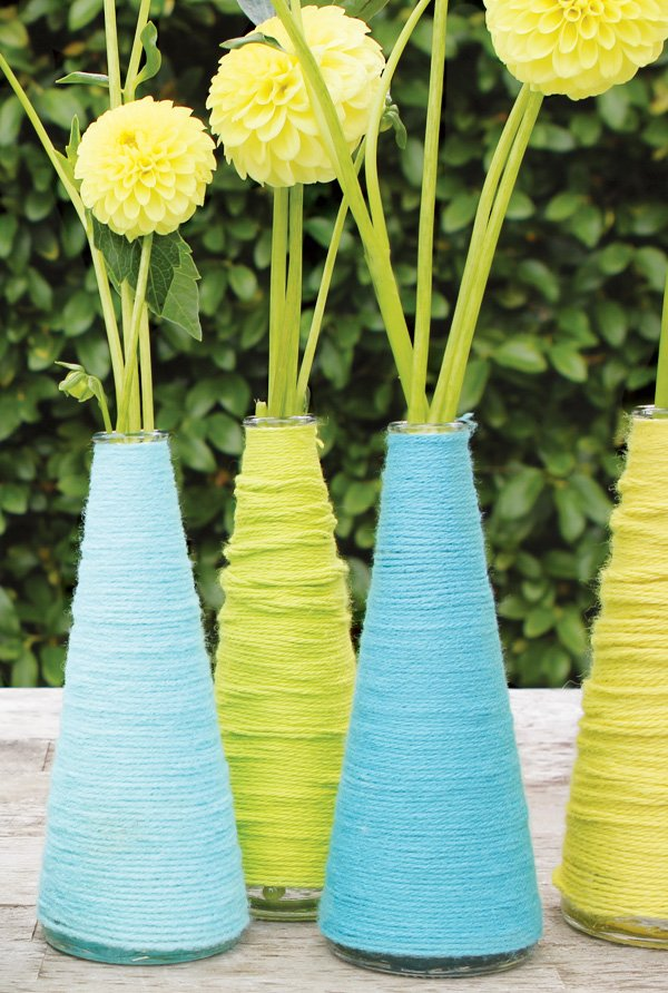 yarn wrapped bases diy tutorial