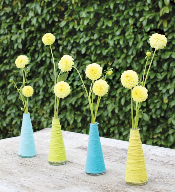 yarn wrapped vases and mini dahlias