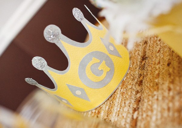yellow and gray monogrammed birthday crown
