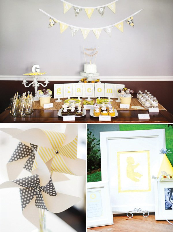 yellow and gray decorations with patterned bunting and pinwheels