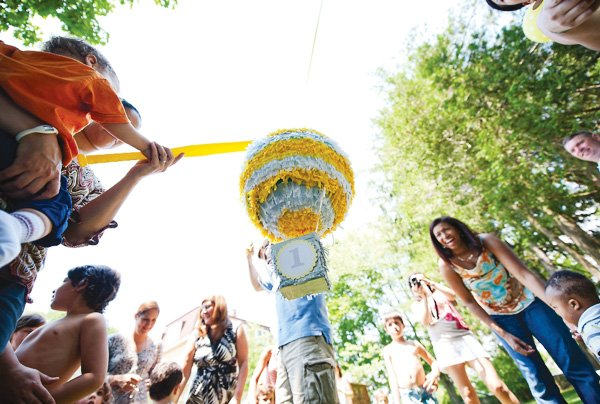 birthday party activity with hot air balloon pinata