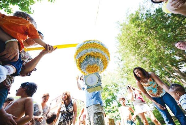 birthday party activity with hot air balloon pinata