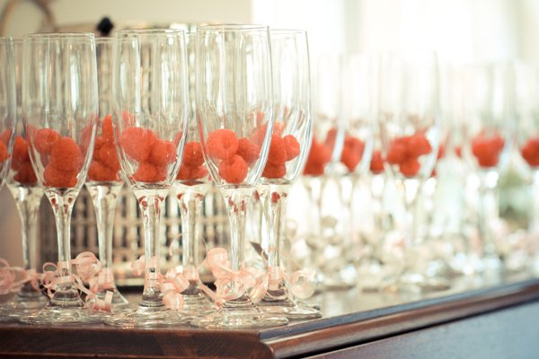 raspberry filled champagne glasses bridal shower dessert savory tables shabby chic edible centerpiece
