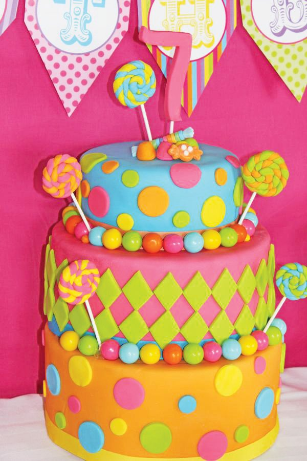 pink candy colorful birthday cake