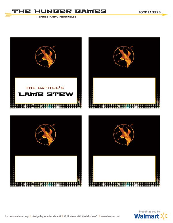 the hunger games free printables blank buffet labels