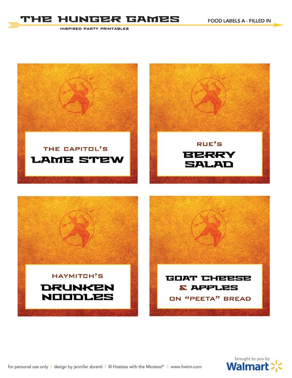 the hunger games free printables buffet labels