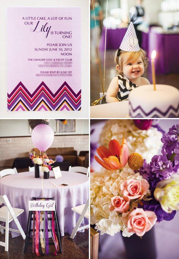 Missoni purple first birthday