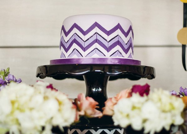 purple Missoni chevron cake