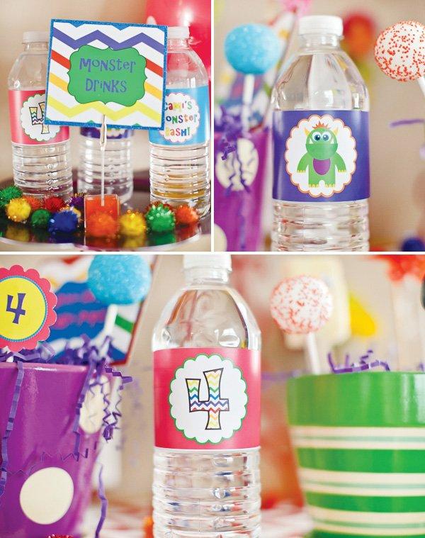 monster birthday drink labels