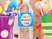 monster birthday water bottle wraps