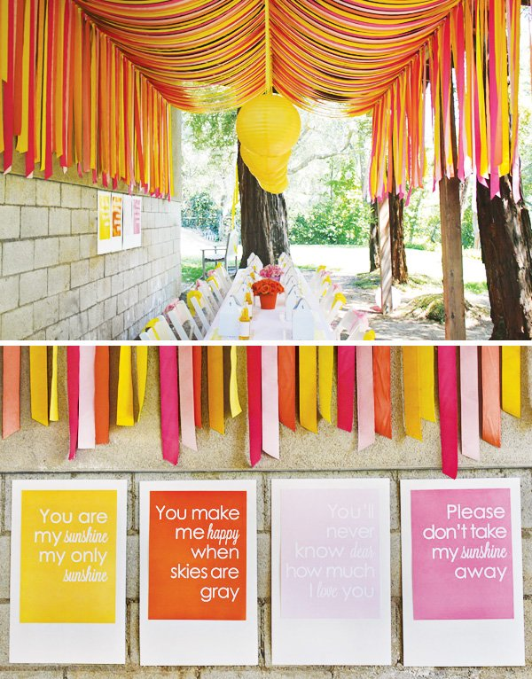 sunshine party crepe paper decoration