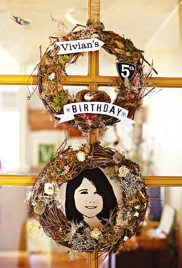 nature birthday wreath