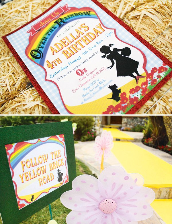 rainbow Wizard of Oz invitation