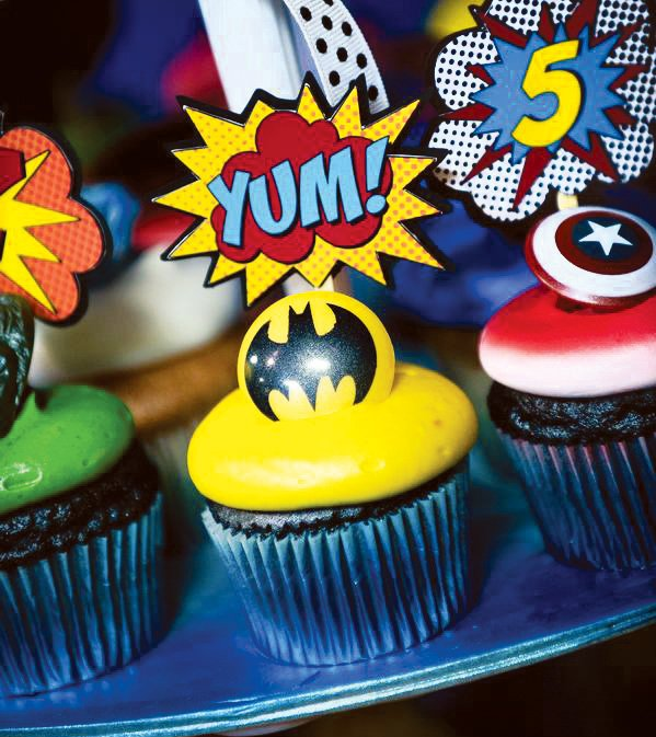 comic superhero cupcake toppers