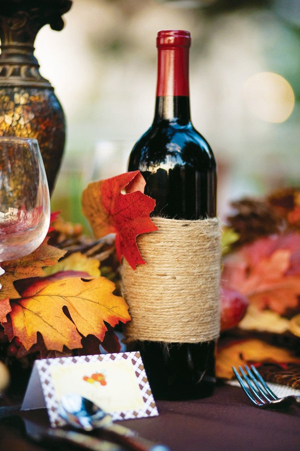 thanksgiving wine bottle decorations