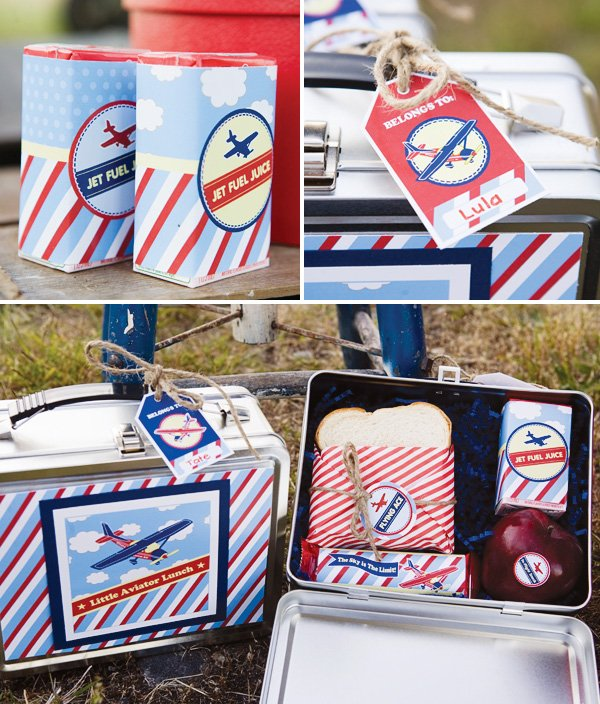 Airplane lunchbox with printable labels and name tags
