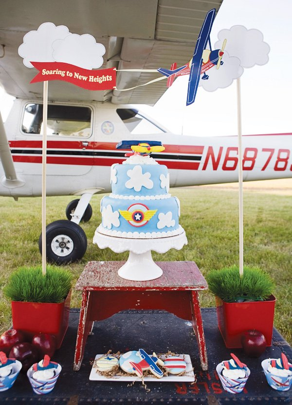 Airplane cake with pilot wings and clouds