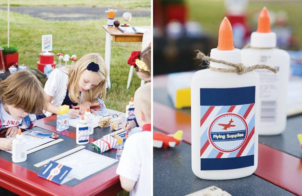 Airplane party with back to school supplies printables