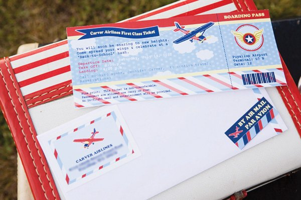 Boarding pass invitation for airplane party
