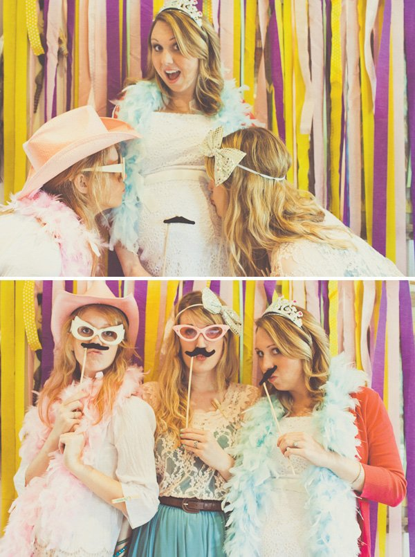 baby shower ideas and a photo booth with streamers