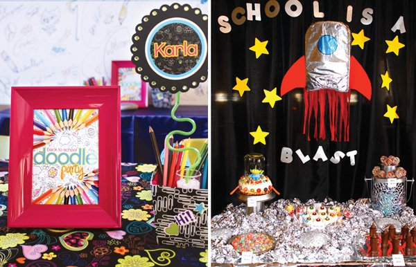 back to school party with a spaceship theme