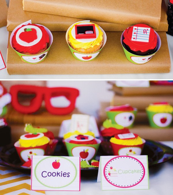 Back to school cupcake toppers