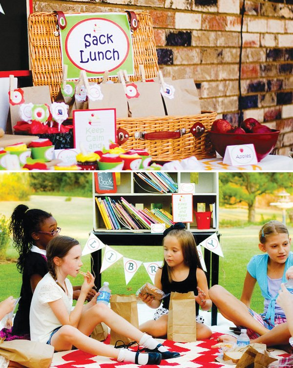 Back to school party sack lunches and picnic area